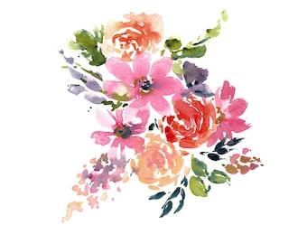 Watercolor Pink and Purple Flower Printable, Digital Download Floral Art, Printable Art for Spring, Flower Print, Watercolor Download Print