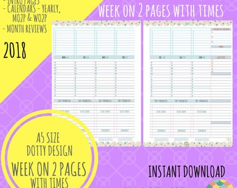 SALE! - A5 - 2018 - Week on 2 Pages REFILL - Calendar Pages Only - Planner Inserts for Filofax Kikki K - DOTTY Design