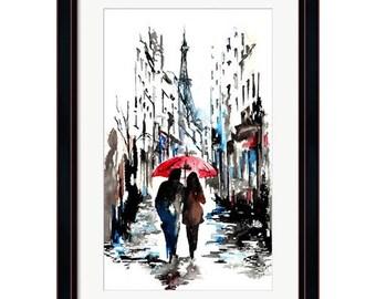 Watercolor Print from Original Watercolor Illustration - Travel Paris Red Umbrella Watercolor Painting