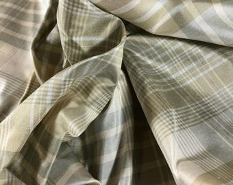 """100% Silk Plaid 54""""w Gold and Pale Green"""