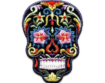 Skull - Sugar - Candy - Calavera - Mexican - All Souls Day - Embroidered Iron On Patch - B