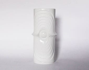 Vintage XL  German Op Art Bisque Swing Vase - KPM