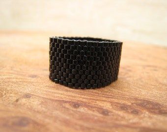 Opaque Black Beaded Band Ring, Hand-stitched