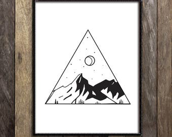 Wilderness Art Print, Mountains Wall Art, Ink Drawing, Line Drawing, Constellation Print, Geometric Print, Black and White Wall Art, Decor