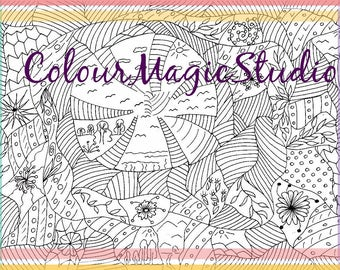 Coloring page flowers nature digital