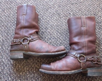Men's TRASHED GAUCHO Frye Harness Boots Motorcycle Boots GRUNGE Biker Boots engineer boots