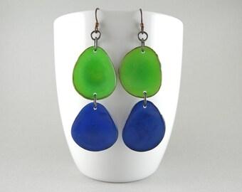 Green and Cobalt Blue Tagua Nut Eco Friendly Earrings with Free USA Shipping SALE #taguanut #ecofriendlyjewelry