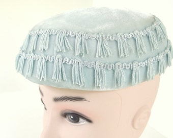 Vintage Velvet Hat, Blue Fringed, Low Profile Cushion Pillbox