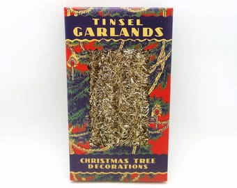 Vintage Style Gold Tinsel Garland - 9 Feet