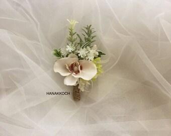 Boutonniere / Buttonhole / Corsage / Groom's Accessories / Groomsmen / White Orchid / Garden Wedding / Wedding Boutonniere / Orchid Flower
