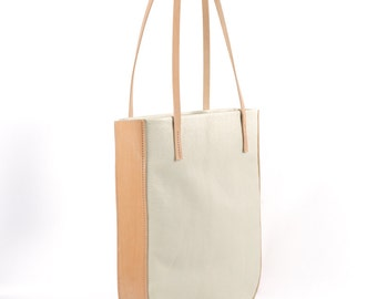Cream + Natural Leather Tote