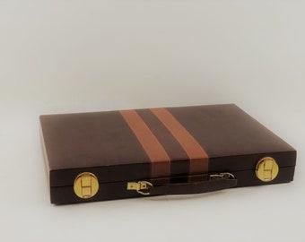 Large Vintage Backgammon Set In Travel Case, Brown Faux Leather Case