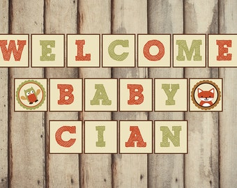 Woodland Baby Shower Banner, Welcome Baby Banner, Nursery Banner, Lambs and Ivy Echo, Baby Shower Decoration