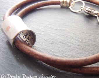 Personalized leather Anniversary Gifts for Men secret message bracelet gift for husband message is hidden inside