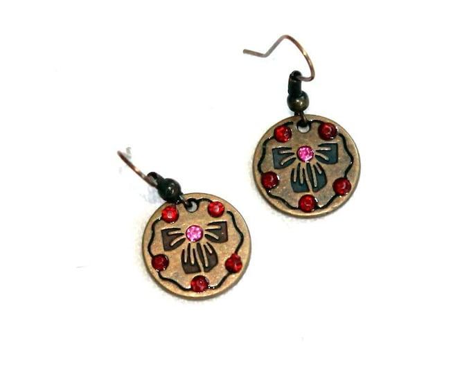Bows and Gemstone Earrings, Dangle Earrings, Bell Art Designs 187