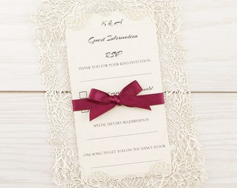 SAMPLE * Love Always Laser Cut Wedding Invitation with Satin Ribbon