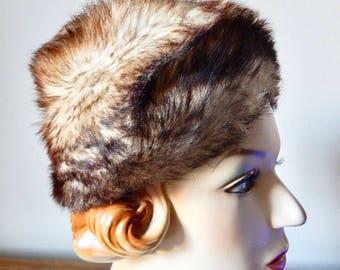 vintage faux fur hat / 60's vegan friendly hat