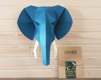 Elephant paper DIY KIT, Custom colors, Low poly elephant, 3D paper, 3d wall art, Elephant decor, Faux taxidermy, Paper trophy, Jungle animal