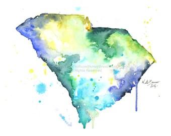 South Carolina Map - Print of watercolor map