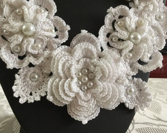 "Crochet Necklace ""Elisa"", Vintage Bridal Necklace, Unique piece of Crochet Jewellery and Irish crochet"