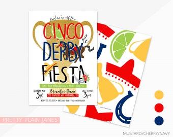 Cinco de Derby Fiesta Invitation   Derby de Mayo Fiesta Party   Kentucky Derby Fiesta Invitation   Derby Fiesta Printable Invite - 5X7