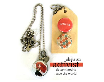 ACTIVIST Locket Necklace, Save the World, Advocate, Archetype, Holds a Picture Inside, Magnetic, Interchangeable, Polarity, Solocosmo