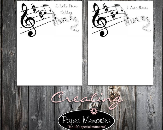 Music Notepad Set Personalized Stationery Set- 2 Notepads - Makes a great gift -