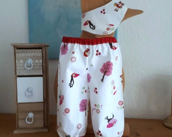 Baby Pumphose Summer Baby pants for girls size 68, baby bloomers summer pants girls, cotton wool, sewn pants & scarf scarf