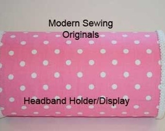 Pink with White Polka Dot Headband Holder