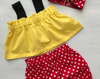 Minnie Mouse Baby Girl Outfit/ Minnie Mouse Polka Dot Outfit/ Red Polka Dot Bloomers and Headband/ Toddler Summer Outfit/ Toddler Bloomers