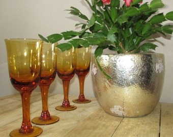 Set of four, vintage yellow glasses