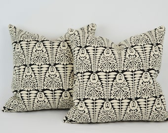 """Pair of 20"""" Black and Cream Bohemian Pillow Covers"""