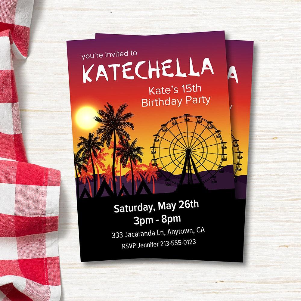 Birthday Party Invitation Summer Music Festival 5x7 Vertical
