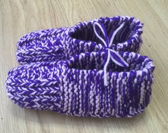 Hand Knitted Slippers - Pink and Purple