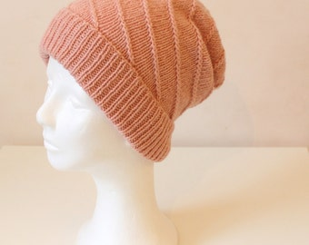 Hand knit cashmere merino hat with folded brim