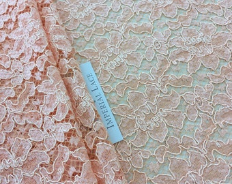 Orange Lace Fabric, French Lace, Embroidered lace, Wedding Lace, Bridal lace, peach Lace, Veil lace, Lingerie Lace, K00685