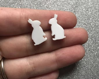 Rabbit Earrings Bunny Earrings White Rabbit Stud Earrings Rabbit Jewelry Bunny Jewelry
