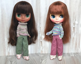 Blythe pants, Pullip doll trousers, dolls outfit, 30 cm dolls clothes, 12 inch doll pants, dolls clothing, green pants, red pants