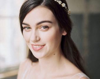 gold flower crown, bridal headpiece, gold floral crown, wedding headpiece, gold headpiece, gold wedding hair accessory, hair vine - TAMSIN