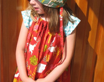 SUPER SALE Peasant Dress - Red Woodland-  size 5 to 6 years Ready to Ship