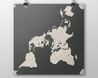 Peirce Quincuncial World Map Poster - Charcoal