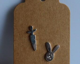 Earrings rabbit,carrot earring,925 silver earrings,Easter earrings, light earring,tiny stud earrings,small earrings,handmade, made in Italy