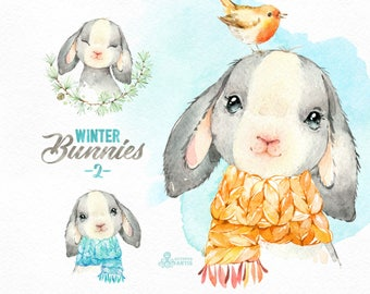 Winter Bunnies 2. Watercolor holiday clipart, rabbit, hare, Christmas, card, wreath, scarf, country, nursery art, nature, realistic, wild
