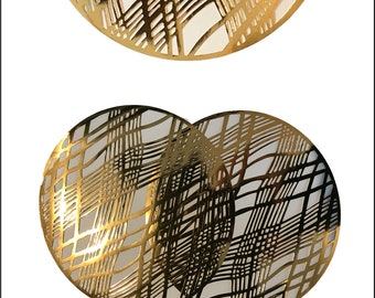 20,Gold Placemats, Wedding Placemats, Foil Chic Design, Round Gold Placemats - PACK OF 20