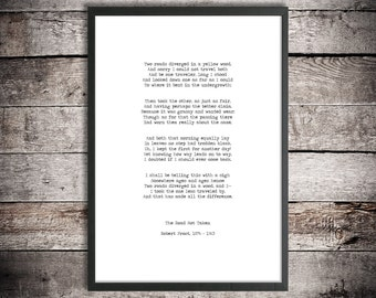 Robert Frost Printable Download Poem 'The Road Not Taken' Instant Download Vintage Style Typography Print Two Roads Poster Life Quote Poem