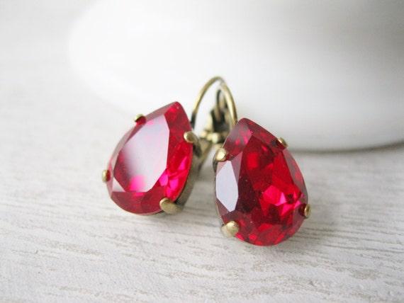 Red Crystal Earrings Christmas Wedding Bridesmaid Earrings Swarovski CRYSTALLIZED Elements Siam Old Hollywood Glam Nickel Free
