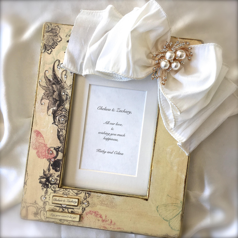 Wedding Frame Bow Jewel Personalized Unique Photo Gift Swarovski ...