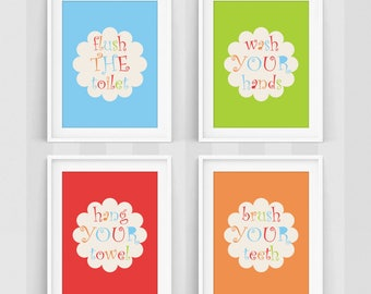 Kids Bathroom Decor, Kids Bathroom Wall Art, Wash Your Hands, Flush the Toilet, Hang Your Towel, Brush Your Teeth, Kids Bathroom Prints