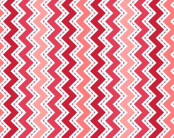 Lil' Sprout Flannel Too! - per yard - FLANNEL - Maywood - Kim Christopherson - Adorable baby/child flannel! - Chevron red and peach - C