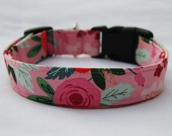 Flower Garden on Pink- Adjustable Dog- Pet Collar- Pet Supplies- Pet Accessories Girl Dog Collar-
